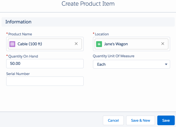 Create Product Item page