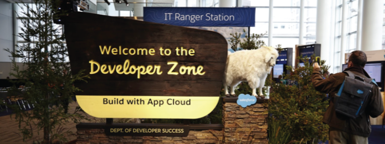 Sign from Dreamforce: Welcome to the Developer Zone, Build with App Cloud, Dept. of Developer Success