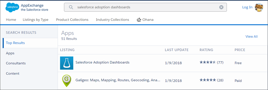 On AppExchange, search for the Salesforce Adoption Dashboards app
