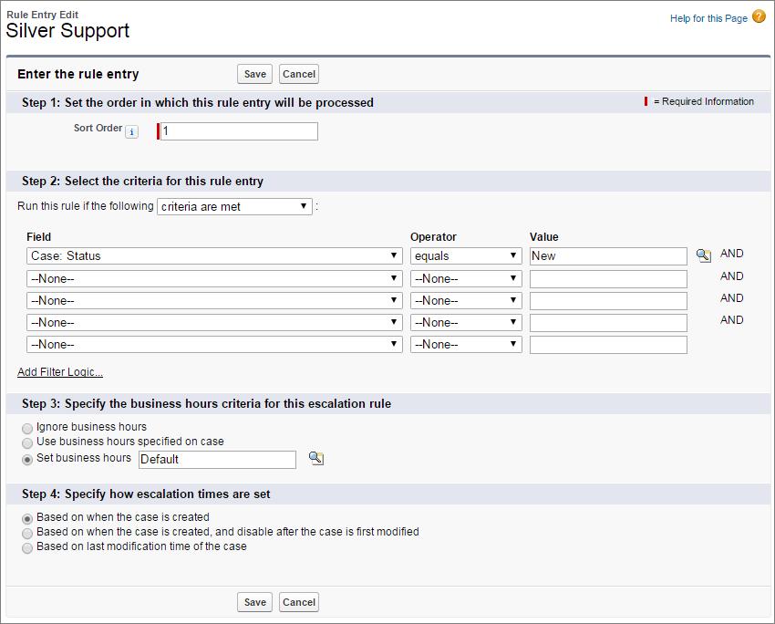 A screen shot of case escalation rule criteria.
