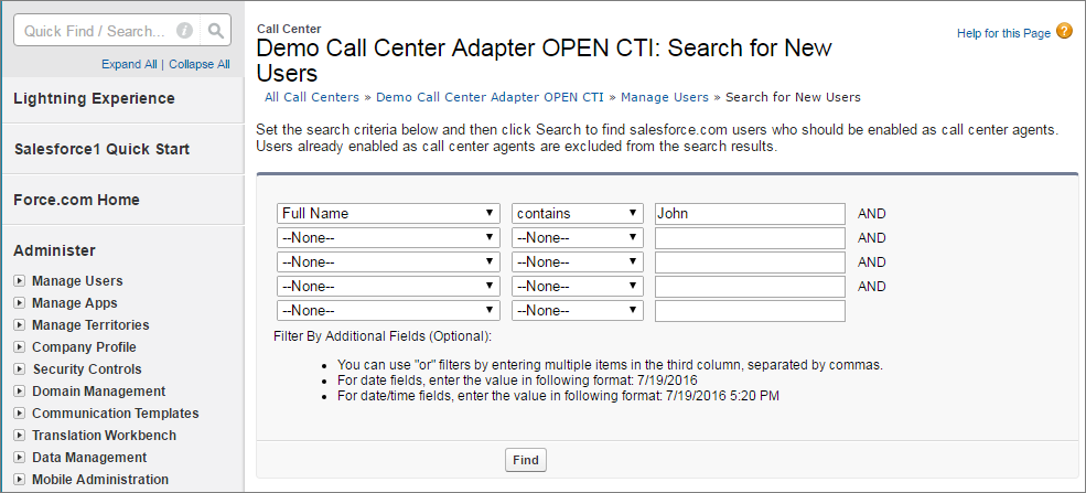 A screenshot of finding users with criteria in Call Center setup.