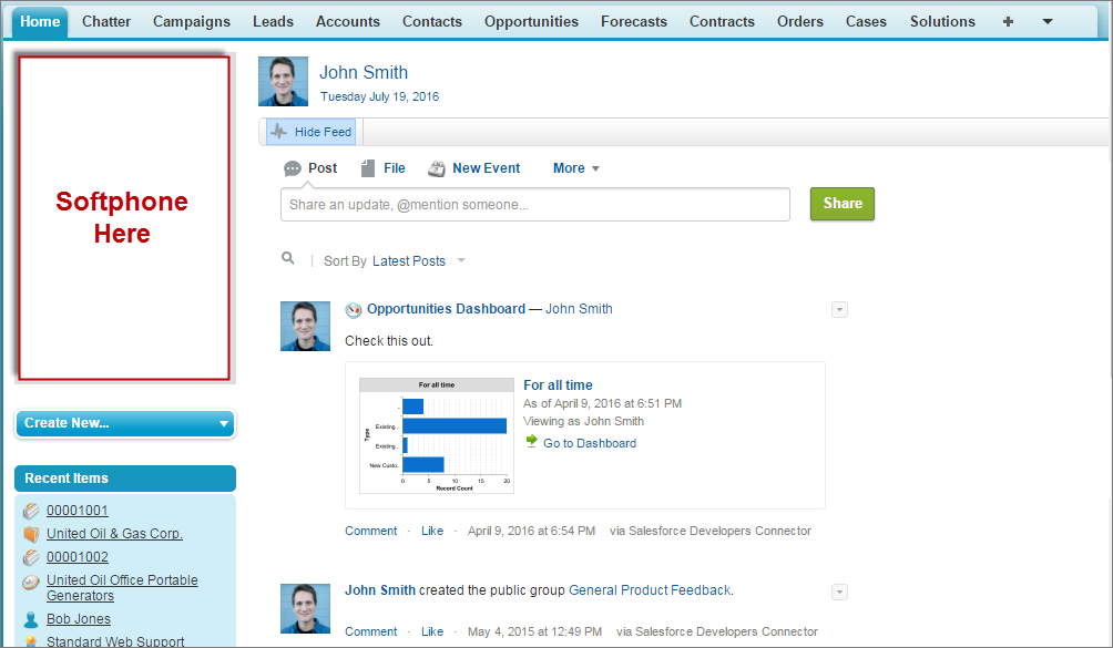 A screenshot of a softphone in the sidebar of Salesforce.