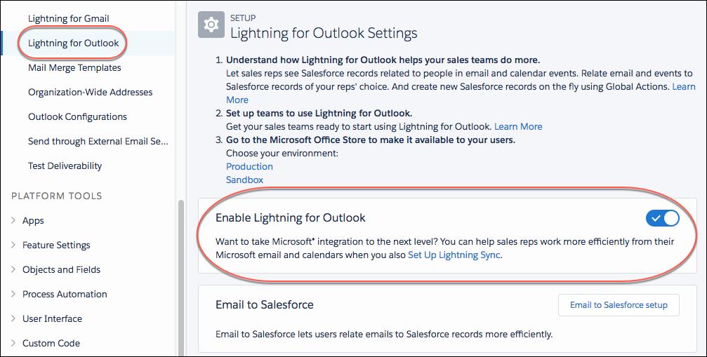 Setting to turn on Lightning for Outlook