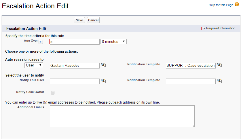 A screen shot of case escalation rule action with age over hours of 5.