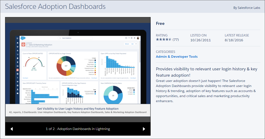 The Salesforce Adoption Dashboards listing on AppExchange shows details about the app