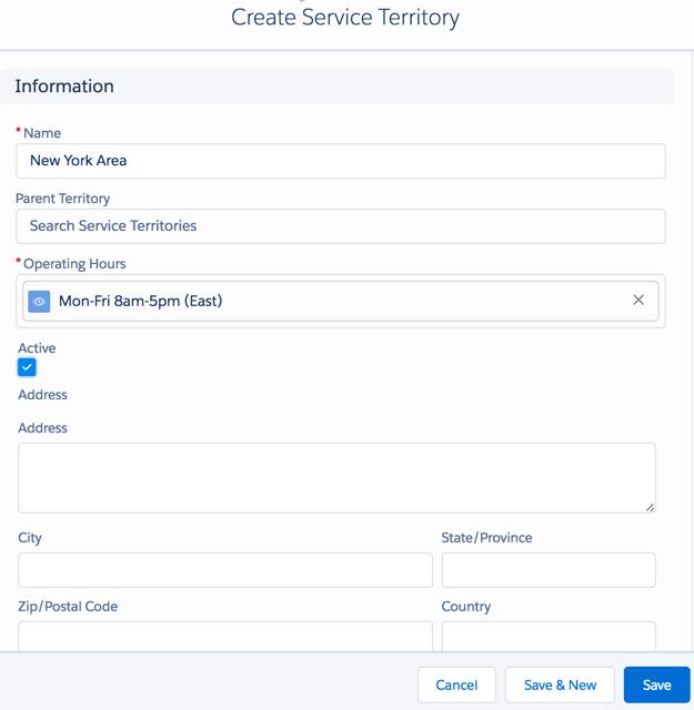 Create Service Territory dialog