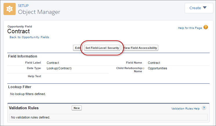 Set Field-Level Security to See Contracts from Opportunities