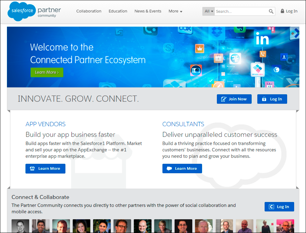 Salesforce Partner Community landing screen