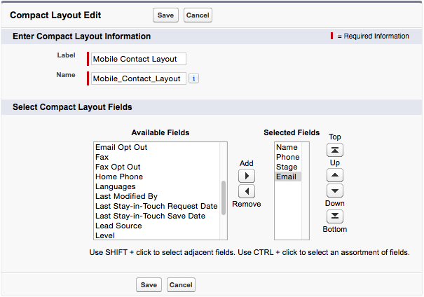 A screenshot of the selected fields for the contact compact layout