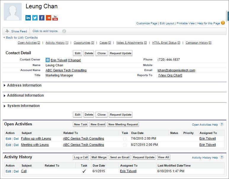 A screenshot of Leung Chan's contact detail page