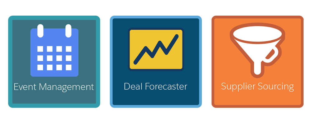 A diagram with icons for the three types of apps we will consider