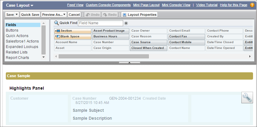 A screen shot of the case page layout with the highlights panel section.