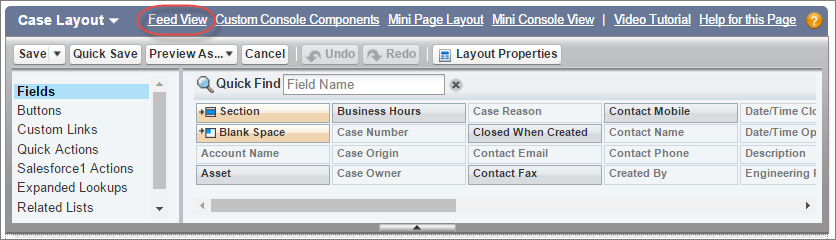 Feed view button on case layout