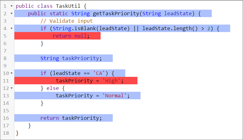 Lines covered for the TaskUtil class in the Developer Console