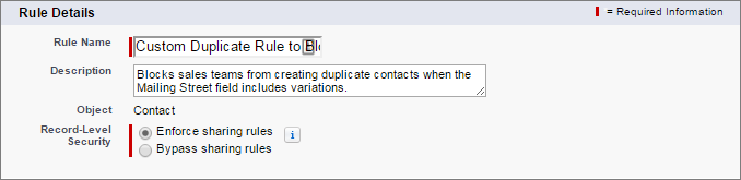 New duplicate rule name and description