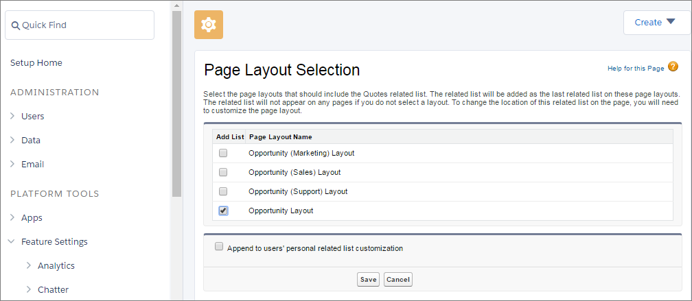 Select Page Layouts on Which You Want Quotes Appear