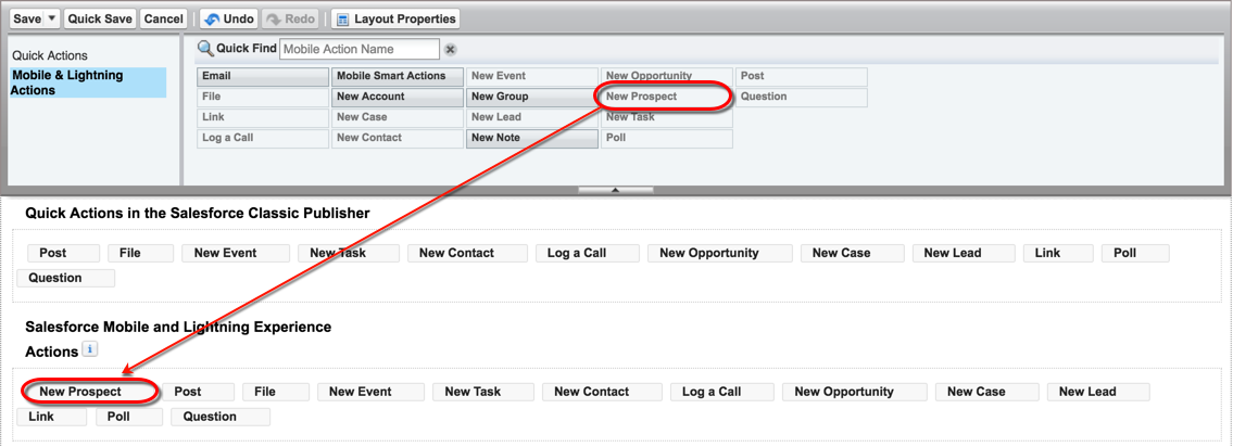 A screenshot of the New Prospect action in the Global Publisher Layout