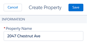 A screenshot of the property detail page in Salesforce1