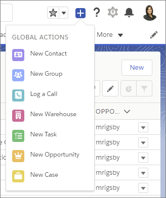 Global Actions menu in Lightning Experience