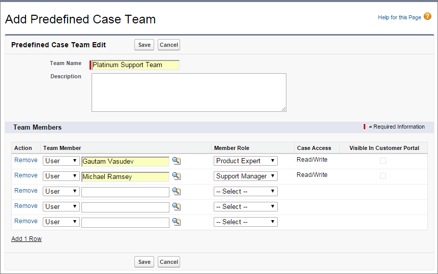 A screen shot of the predefined case team page.