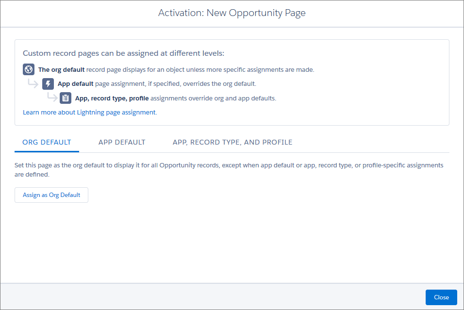 Record page activation