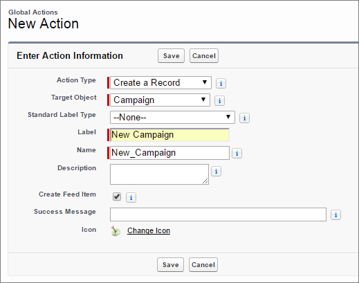 Create a New Campaign action