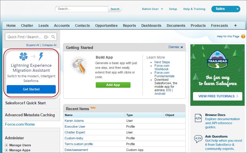 Lightning Experience Migration Assistant link in Setup menu