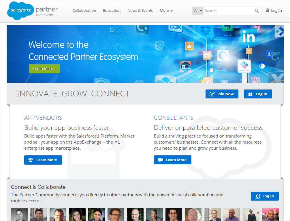 A view of the Partner Community homepage