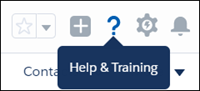 The Help & Training question mark icon in the Salesforce Header