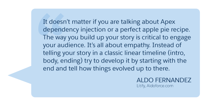 'It doesn't matter if you are talking about Apex dependency injection or a perfect apple pie recipe...' Aldo Fernandez (Litify, Aldoforce.com)