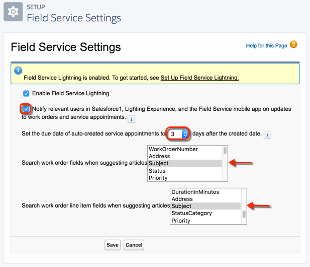 Field Service Settings page once Field Service is enabled