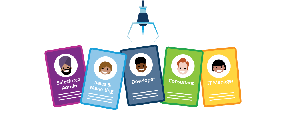 Cartoon of a machine picking different badges: Salesforce Admin, Sales & Marketing, Developer, Consultant, IT Manager