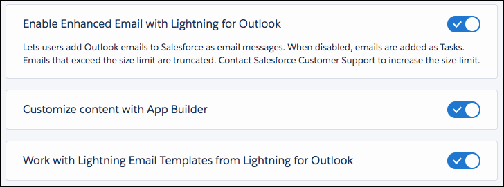 Settings for Enhanced Email, App Builder, and email templates