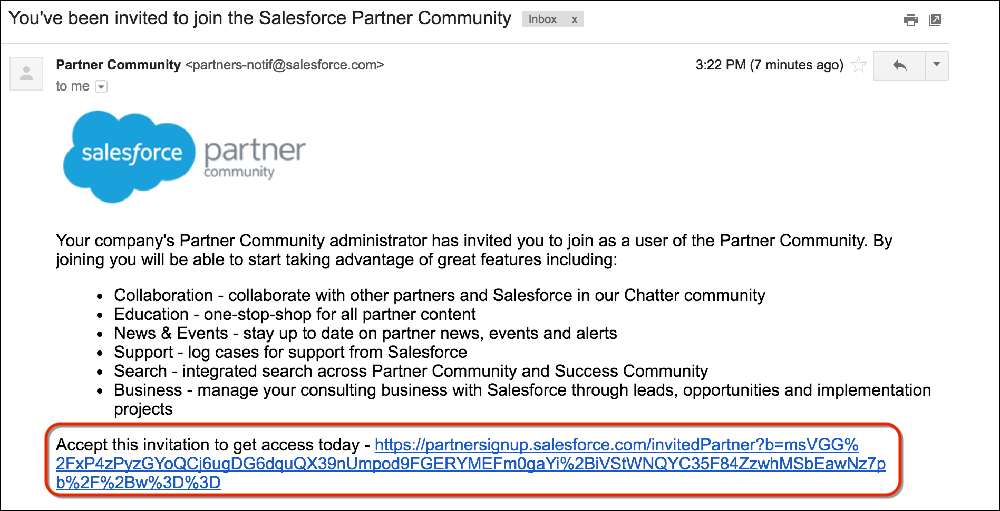 An email message inviting you to the Salesforce Partner Community