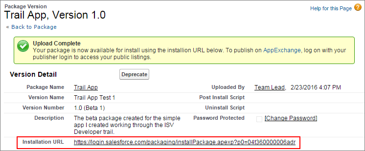Screen for package with installation URL