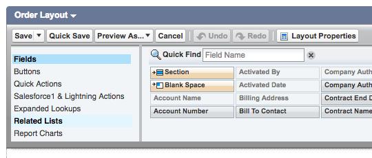 Edit layout for order details