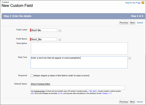Fields on the New Custom Field page filled out to create a Short Bio text field