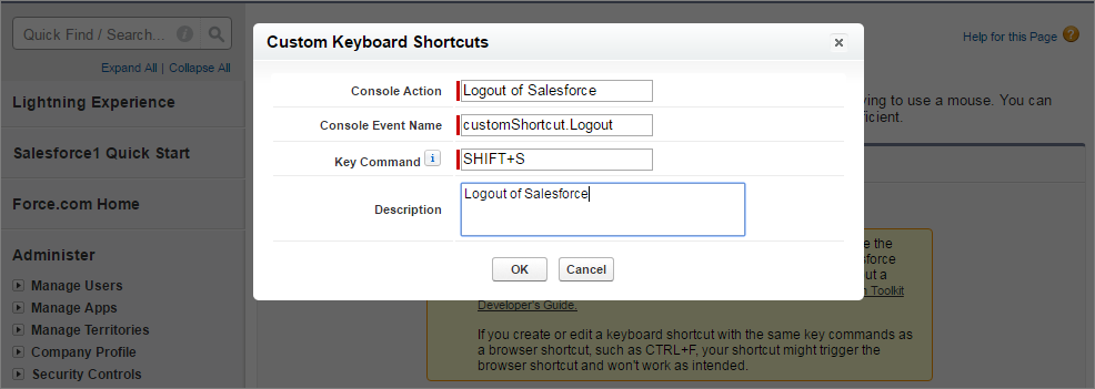 A screen shot of adding a custom keyboard shortcut in setup