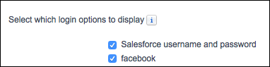 Facebook option on the login configuration page