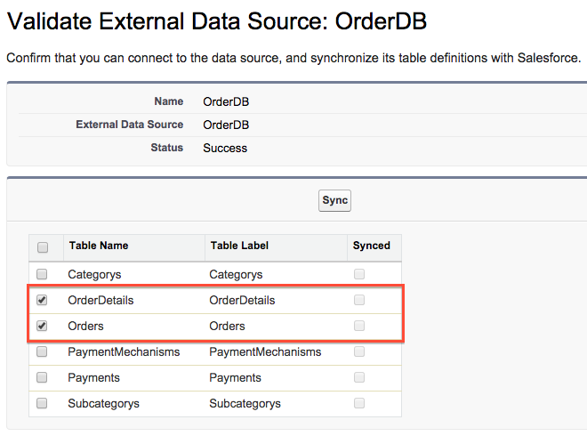 Validate External Data Source dialog