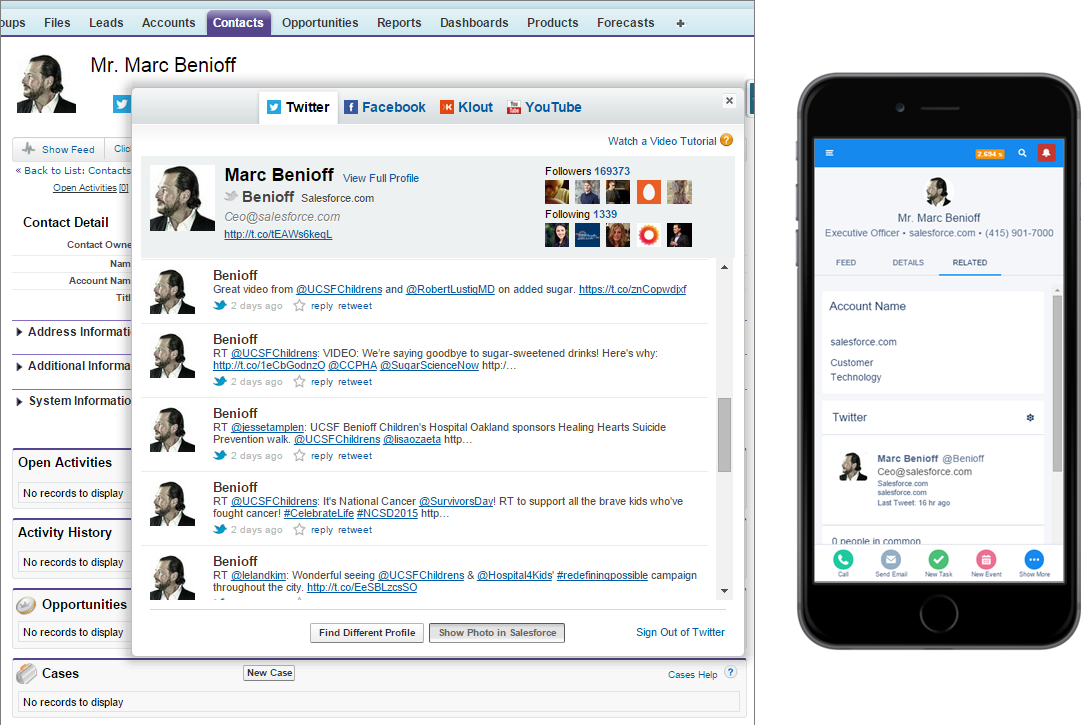 Side-by-side comparison of Twitter in Salesforce on the desktop and a mobile device
