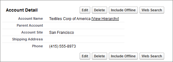 Account record detail page with a custom button.