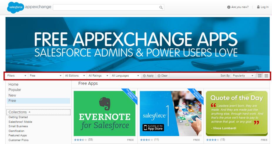 The AppExchange detail menu.