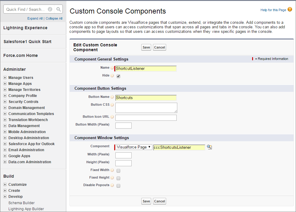 A screen shot of adding a custom console component to the footer for a keyboard shortcut