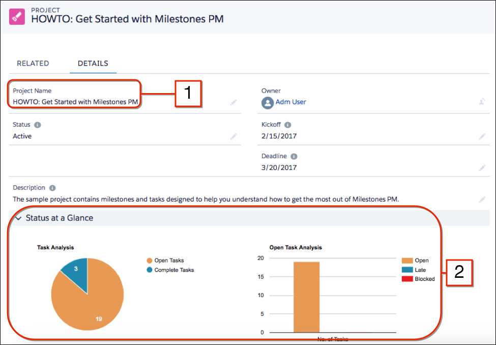 Overview screen for Milestones project management app