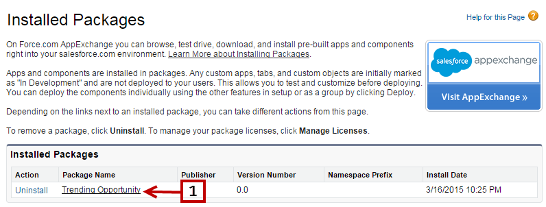 The Installed Packages page.
