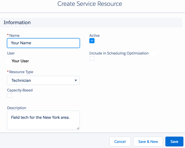 Create a Field Service Resource dialog