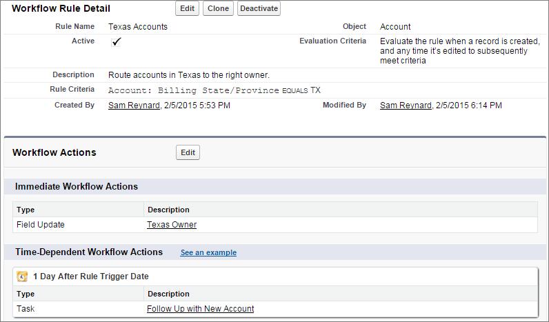 Screenshot of final workflow rule