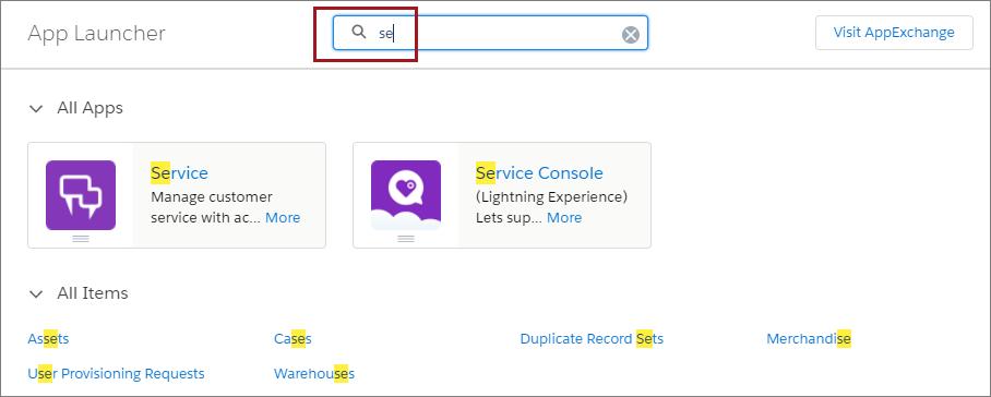 App Launcher search box