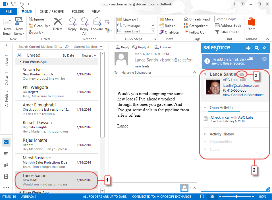 Adding an email to Salesforce from the side panel